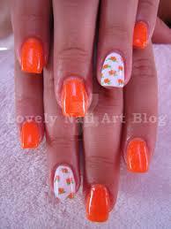 Neon orange nail design by lovely-nail-art on DeviantArt
