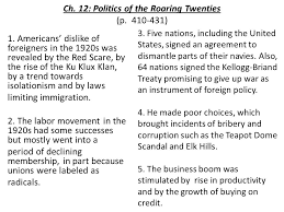 americans ch history alive ch ppt ch 12 politics of the roaring twenties p 410 431