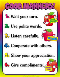 Good Manners Chart For Class 1 Good Manners Color Chart Printable Charts Signs And
