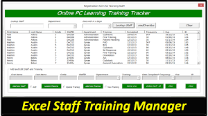 Training Tracker Excel Spreadsheet Staff Training Manager Database Excel Userform Online Pc Learning