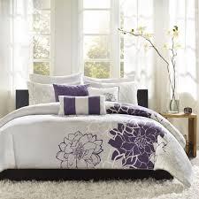 madison park lola duvet cover full queen size purple grey fl flowers duvet cover set 6 piece cotton sateen cotton poly crossweave light