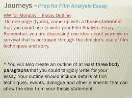 area of study journeys ppt  journeys prep for film analysis essay
