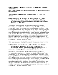 Sample Annotated Bibliography Entry For A Journal Article From