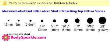 Labret Stud Size Chart 60 Unfolded Septum Piercing Gauge Chart