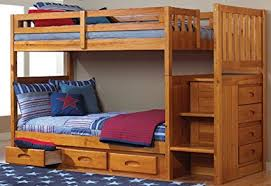 bunk bed with stairs. Mission Twin Over Staircase Bunk Bed With 3 Drawers In Honey Finish Stairs L