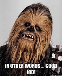 IN OTHER WORDS.... GOOD JOB! - Chewbacca meme   Meme Generator