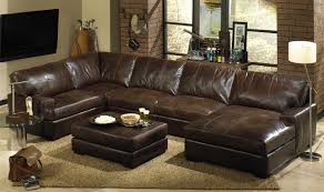 leather sectional living room furniture. Interesting Leather Sectionals Sofas With Dark Brown Area Rugs And Glass Sidetable Sectional Living Room Furniture R