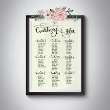 Calligraphy Wedding Seating Chart Custom Calligraphy Wedding Seating Chart Digital File Diy Printable Caligrafia Plano De Sala Bodas Personalizado