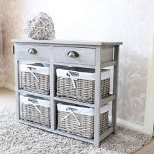 Grey Wood Wicker Storage Unit Drawer Shabby French Chic Bedroom Kitchen  Bathroom