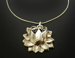 large lotus flower necklace in white or gold bronze