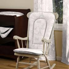 white wooden rocking chair. Furniture. White Wooden Rocking Chair With Fabric Cushion And Double Arms On The Floor S