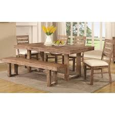 room madison open base distressed acacia wood dining set