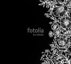 Hand Drawn Flower Design In White Ink Elegant Fancy Floral Doodle