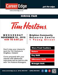 Tim Hortons Resume Job Description Tim Hortons Job Fair Career Edge 20