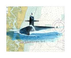 Us Navy Nautical Charts Uss Tennessee Ssbn 734 Submarine Watercolor Giclee Print On