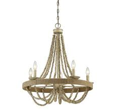 5 light chandelier in natural wood with rope