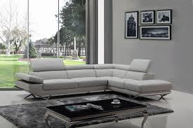 divani casa quebec modern light grey eco leather sectional sofa
