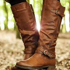 struck flat wide calf stretch knee high biker boots tan leather style