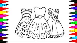 how to draw s barbie dress coloring pages videos for kids with rainbow colored markers