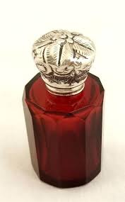 antique cranberry glass and silver top perfume bottle c 1880