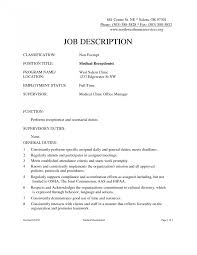 Receptionist Job Description For Resume Resumes Doctor Office