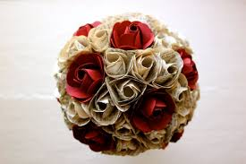 Paper Flower Bouquet For Wedding Paper Flower Bouquet Wedding Book Page Paper Red Paper Rose