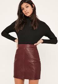 Burgundy Faux Leather Quilted Mini Skirt | Missguided & Burgundy Faux Leather Quilted Mini Skirt Adamdwight.com
