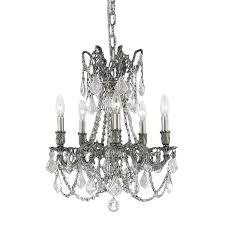 elegant lighting rosalina 18 in 5 light pewter crystal crystal dd chandelier