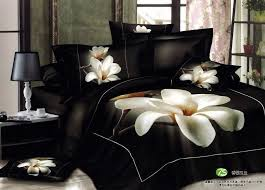 luxury style bedroom with reactive printed 3d comforter and flower black bedding set bedroom