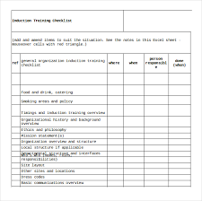 sample training checklist template