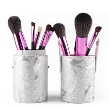 professional 12 pcs goat hair pony hair face eye lip makeup brushes set with brush holder