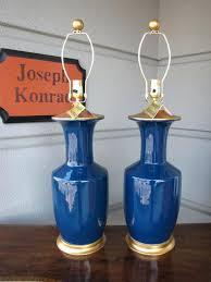 blue lamp base large royal blue lamp with gold leaf base and cap blue and white blue lamp base