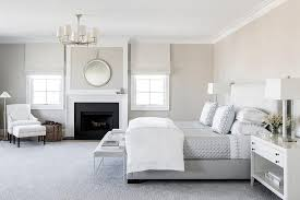 White and Gray Master Bedroom with Fireplace - Transitional - Bedroom