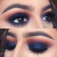 dark blue and copper prom makeup look