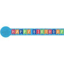 Printed Crepe Streamers Happy Birthday Blue 81