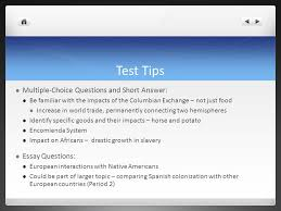 apush review key concept the columbian exchange ppt video test tips multiple choice questions and short answer essay questions