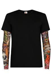 черная футболка с тату рукавами Sam Phillips мужская купить в