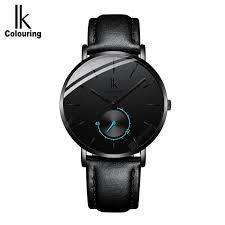 <b>IK mens mesh steel</b> belt ultra-thin leather fashion quartz watch mens ...