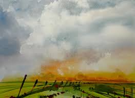 watercolor storm sky landscape 20x sd painting demonstration you