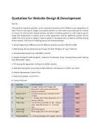 price quotation format doc quotation for website design