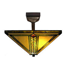 warehouse of tiffany 2 light antique bronze mission stained glass semi flush lamp with mounting