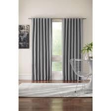 semi opaque gray room darkening back tab curtain