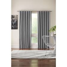 semi opaque gray room darkening back tab curtain