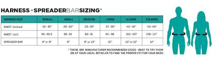 Kiteboarding Harness Size Chart