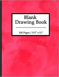 blank drawing book 100 pages 8 5 x 11 large sketchbook journal white unruled drawing paper durable soft cover for kids artists and students red