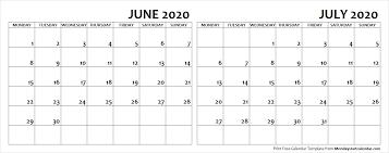June July 2020 Calendar June July 2020 Calendar Monday Start Editable Two Months