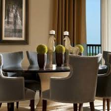 Nailhead dining chairs dining room Linen Transitional Dining Room With Nailhead Dining Chairs Photos Hgtv Photos Hgtv