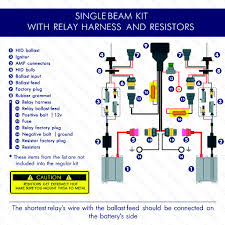 kensun installation hid led headlights single beam relay harnest and resistors wiring diagram