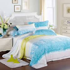 aqua blue yellow and white french country fl and stripes 100 modal tencel lyocell full queen size bedding sets