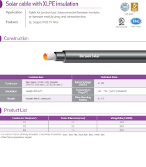 Cable Specification Chart Pv Cable Specification Deryook Technology